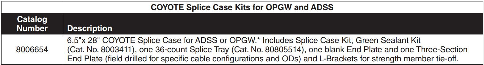 Coyote Splice Case OPGW ADSS